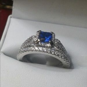 Natural Blue Sapphire/Diamond Bridal 2pc Set